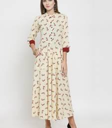 Cream woven cotton kurtas-and-kurtis