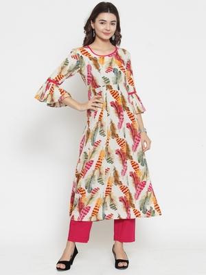 Indibelle Cream woven cotton kurti with trouser