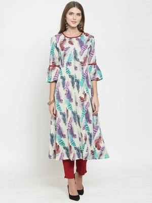 Indibelle Beige woven cotton kurtas-and-kurtis