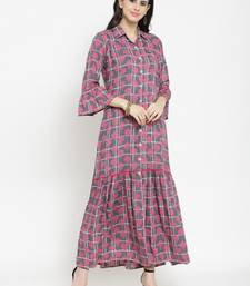 Indibelle Grey woven viscose rayon kurtas-and-kurtis