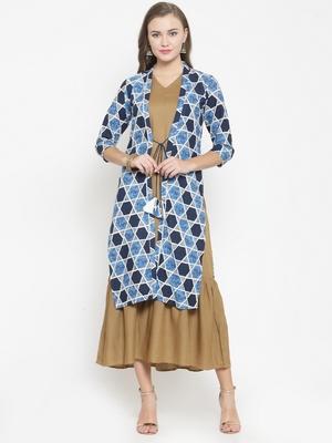 Blue woven viscose rayon kurtas-and-kurtis