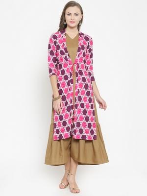 Pink woven viscose rayon kurtas-and-kurtis