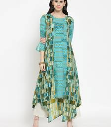 Teal woven viscose rayon kurtas-and-kurtis