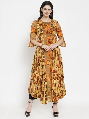 Orange woven viscose rayon kurtas-and-kurtis