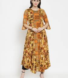 Indibelle Orange woven viscose rayon kurtas-and-kurtis