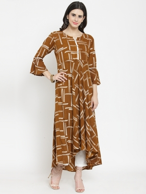 Brown woven viscose rayon kurtas-and-kurtis