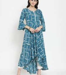 Indibelle Teal woven viscose rayon kurtas-and-kurtis