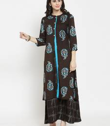 Indibelle Brown woven viscose rayon kurtas-and-kurtis