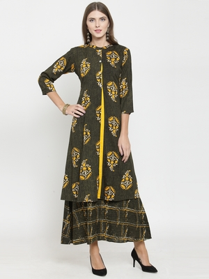 Olive woven viscose rayon kurtas-and-kurtis