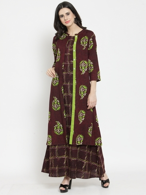Burgundy woven viscose rayon kurtas-and-kurtis