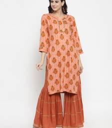 Peach woven viscose rayon kurtas-and-kurtis