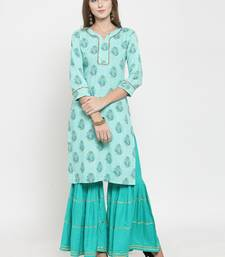 Indibelle Turquoise woven viscose rayon kurtas-and-kurtis