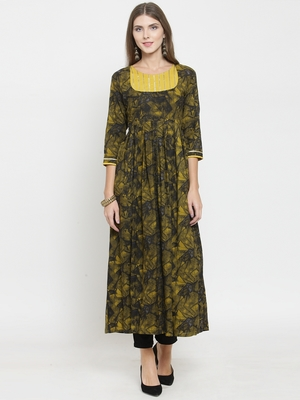Mustard woven viscose rayon kurtas-and-kurtis