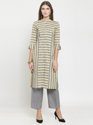 Yellow woven viscose rayon kurtas-and-kurtis