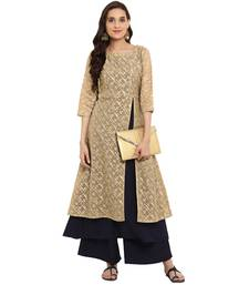 Navy Blue color Flared Foil Print Kurta Palazzo set