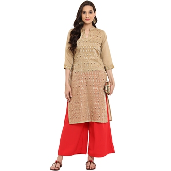 Red color Straight Foil Print Kurta Palazzo set