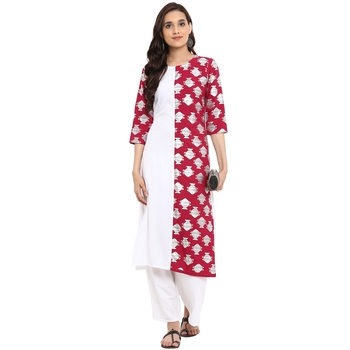 White color Straight Foil Print Kurta Palazzo set