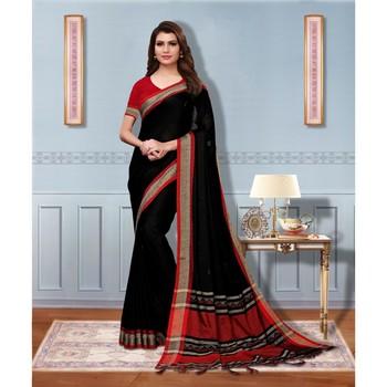 Black bengal handloom linen saree with blouse