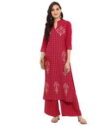 76e86f8e895 Buy Maroon color Straight Foil Print Kurta Palazzo set kurtas-and-kurtis  online
