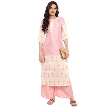 Pink color Straight Foil Print Kurta