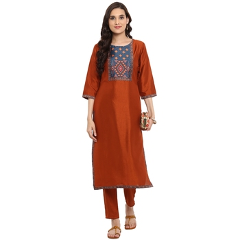 Brown color Straight Digital Print Kurta Pant Set