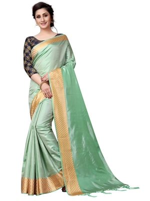 61cb02015f6840 Green plain Paper Silk saree with blouse - Vastrang - 2812265