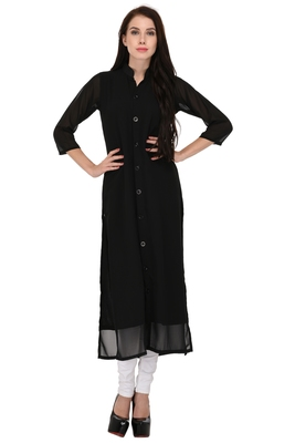 Black plain georgette ethnic-kurtis