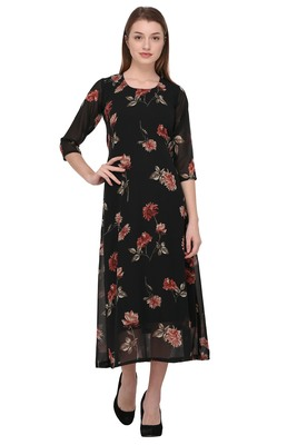 Black printed georgette ethnic-kurtis