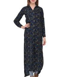 Dark-blue printed polyester ethnic-kurtis