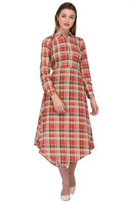 Red printed polyester ethnic-kurtis