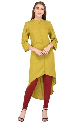 Green plain rayon ethnic-kurtis