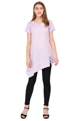 Pink plain linen ethnic-kurtis