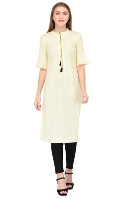 Yellow plain linen ethnic-kurtis