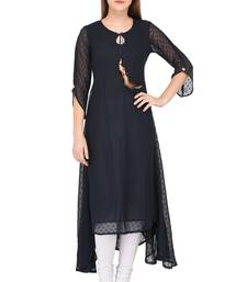 Dark-blue plain chiffon ethnic-kurtis