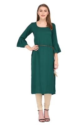 Emerald plain rayon ethnic-kurtis