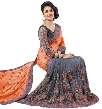 Orange & grey embroidered silk & net  saree with blouse