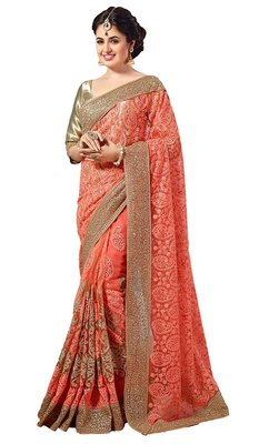 Light orange embroidered net saree with blouse