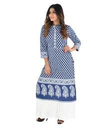 Blue printed cotton kurti
