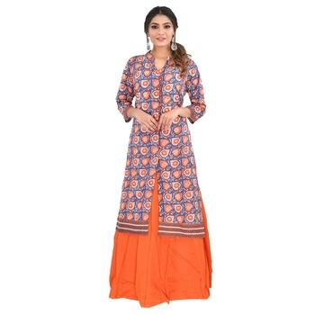 Orange printed cotton kurti