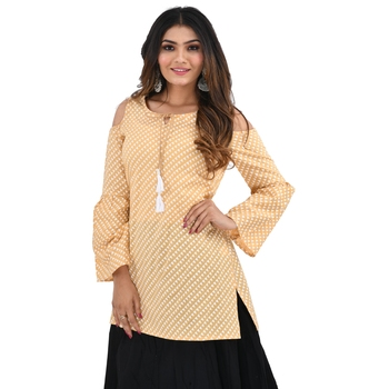 Beige printed cotton cotton-tops