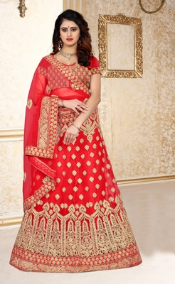 Red thread embroidery net semi stitched lehenga