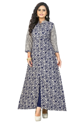 Blue printed cotton party-wear-kurtis