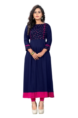 Blue printed rayon party-wear-kurtis