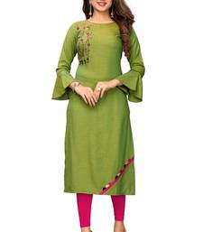 Light-green embroidered rayon kurtis
