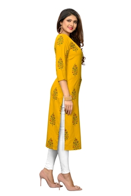 Yellow printed rayon kurtis
