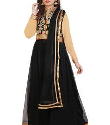 Black embroidered art dupion silk anarkali suit