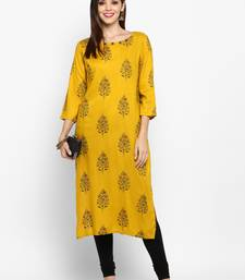 Yellow printed rayon ethnic-kurtis
