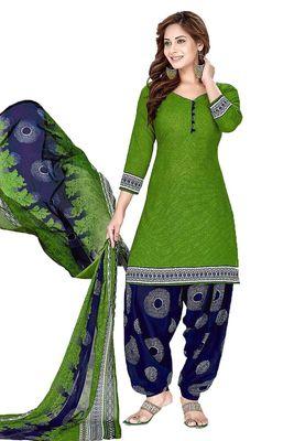 Green printed crepe salwar with dupatta