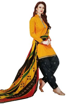 Yellow printed crepe salwar with dupatta