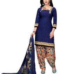 Blue printed crepe salwar with dupatta
